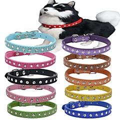 お買い得  犬用首輪/リード/ハーネス-ネコ 犬 カラー 調整可能 / 引き込み式 本革 レッド グリーン ブルー ピンク ライトブルー