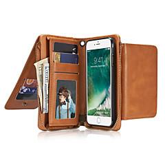 Для Кошелек Бумажник для карт Флип Кейс для Чехол Кейс для Один цвет Твердый Натуральная кожа для AppleiPhone 7 Plus iPhone 7 iPhone 6s