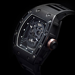 tanie Zegarki męskie-Męskie Modny Zegarek na nadgarstek Unikalne Kreatywne Watch Sportowy Szkieletowy Kwarcowy Srebrzysty Punk Silikon Pasmo Luksusowy Vintage