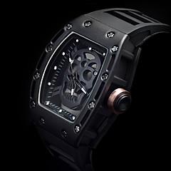cheap Men's Watches-Men's Quartz Wrist Watch Skeleton Watch Sport Watch Punk Noctilucent Silicone Band Luxury Vintage Creative Casual Skull Unique Creative