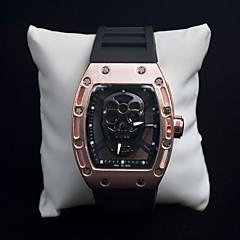 お買い得  メンズ腕時計-男性用 クォーツ ユニークなクリエイティブウォッチ リストウォッチ スケルトン腕時計 スポーツウォッチ パンク 夜光計 シリコーン バンド ぜいたく ヴィンテージ クリエイティブ カジュアル スカル ファッション クール ブラック