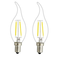 cheap LED Bulbs-ONDENN 2pcs 3W 300lm E14 E12 LED Filament Bulbs CA35 2 LED Beads COB Dimmable Warm White 110-130V 220-240V