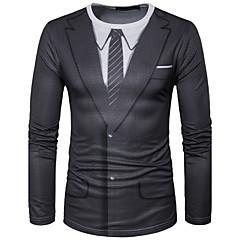 cheap Men's Tees & Tank Tops-Men's Sports Street chic T-shirt - Geometric Print Round Neck / Long Sleeve