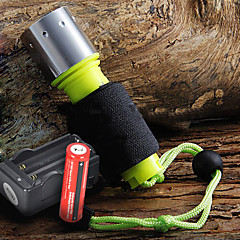 رخيصةأون -LED Flashlights أضواء فلاش يدوية LED 1600 شمعة 3 طريقة Cree XM-L T6 18650Camping/Hiking/Caving Everyday Use Diving/Boating أخضر الصيد