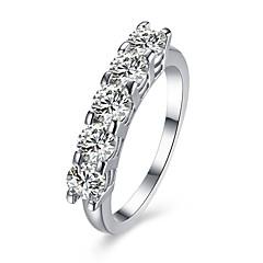 billige Ringe-Dame Ring Kvadratisk Zirconium Personaliseret Rundt design Unikt design Vintage Rhinestone Basale Cirkel Euro-Amerikansk Sød Stil