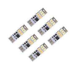 voordelige USB Lampen-brelong dimmen usb 3W 6x5730 's nachts lichte aanraking schakelaar Touch Dual lichte kleur (5 V) 6st