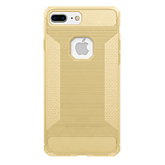 Недорогие Кейсы для iPhone 5-Кейс для Назначение Apple iPhone 7 Plus iPhone 7 Защита от удара Кейс на заднюю панель Сплошной цвет Мягкий Углеродное волокно для iPhone