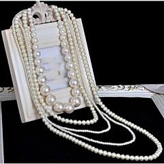 Damskie Warstwy Naszyjniki Perlový náhrdelník Cross Shape Perłowy Wielowarstwowy Długi Długość Ślubny biżuteria kostiumowa Biżuteria Na