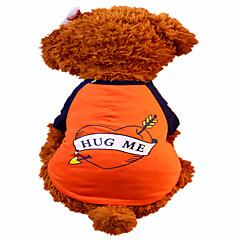 お買い得  犬用ウェア&アクセサリー-犬 Tシャツ 犬用ウェア ハート オレンジ コットン コスチューム ペット用 男性用 女性用 ファッション