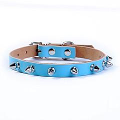 お買い得  犬用首輪/リード/ハーネス-ネコ 犬 カラー 調整可能 / 引き込み式 安全用具 ソリッド 本革 ブラック コーヒー レッド ブルー ピンク