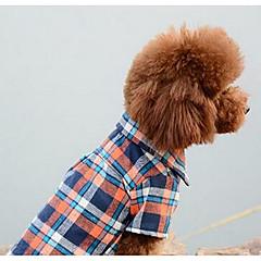 お買い得  犬用ウェア&アクセサリー-犬 ジャンプスーツ 犬用ウェア 格子柄 オレンジ レッド ブルー コットン コスチューム ペット用 男性用 女性用 カジュアル/普段着 ファッション