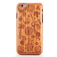 Недорогие Кейсы для iPhone-Кейс для Назначение iPhone 6s iPhone 6 Apple С узором Рельефный Кейс на заднюю панель Имитация дерева Мультипликация Твердый деревянный
