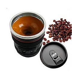 1 adet öykünme kamera lens paslanmaz çelik iç mutfak yemek bar ev ofis süt çay kahve kendini karıştırma kupa kapak stili rasgele
