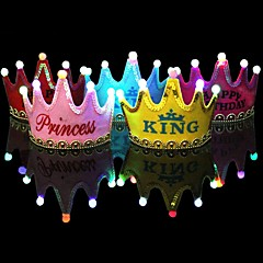 1Pcs Luminous Led Cap Princess Happy Birthday Party Decorations Crown Led Kids Birthday Cap Hat Festival Decorations Ramdon Color