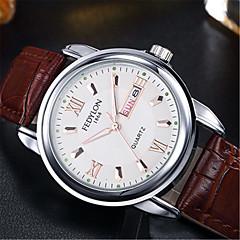 お買い得  メンズ腕時計-男性用 ファッションウォッチ クォーツ 30 m / レザー バンド ハンズ カジュアル ブラウン - ホワイト ブラック ブルー