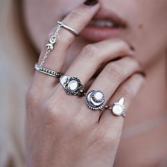 お買い得  指輪-女性用 合成オパール ユニーク 樹脂 合金 円形 ジュエリー 結婚式 パーティー 日常 カジュアル
