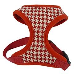 お買い得  犬用首輪/リード/ハーネス-ネコ 犬 ハーネス 調整可能 / 引き込み式 高通気性 格子柄 幾何学的な 繊維 ファブリック ブラック レッド