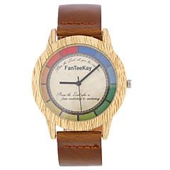 お買い得  メンズ腕時計-男性用 リストウォッチ クォーツ クール 木製 レザー バンド ハンズ カジュアル ウッド ブラック / ブラウン / カーキ - ブラック コーヒー Brown