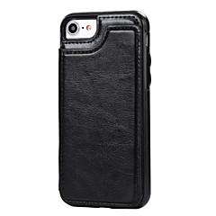 Недорогие Кейсы для iPhone 7-Кейс для Назначение Apple iPhone 7 Plus iPhone 7 Бумажник для карт со стендом Кейс на заднюю панель Сплошной цвет Твердый Кожа PU для