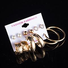 billige Hoop Øreringe-Dame Bladformet Kvadratisk Zirconium / Imiteret Perle Perle / Kvadratisk Zirconium 1 Stangøreringe / Dråbeøreringe / Store øreringe -