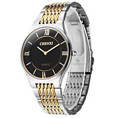 preiswerte Tolle Angebote auf Uhren-CHENXI® Herrn Armbanduhr Quartz Armbanduhren für den Alltag Edelstahl Band Analog Charme Silber - Gold Weiß Schwarz