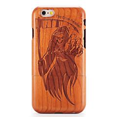Для яблока iphone 6 6s тисненый узор случае задняя крышка корпуса деревянный череп твердой твердой древесины