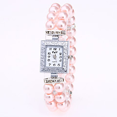 cheap Bracelet Watches-Women's Quartz Bracelet Watch Chinese Casual Watch Pearl Band Pearls White Red Pink Navy