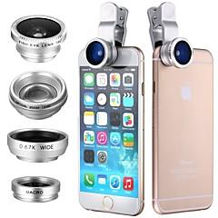 Clip 4in1 180 vis oog groothoek micro telefoto lens voor itouch ipad iphone samsung htc