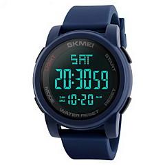 Herrn Sportuhr Armbanduhr Digitaluhr Chinesisch digital LCD Kalender Wasserdicht Duale Zeitzonen Alarm Stopuhr Caucho Band Cool Schwarz