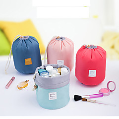 Barrel Shaped Travel Cosmetic Bag Nylon High Capacity Drawstring Drum Wash Bags Makeup Organizer Storage