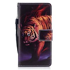 Huawei p8 lite için (2017) p10 kapak örtüsü kaplan model boyalı pu cilt malzeme kartı stent cüzdan telefon çantası p10 artı p10 lite