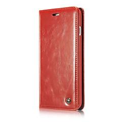 Недорогие Кейсы для iPhone 5-Кейс для Назначение Apple iPhone 7 Plus iPhone 7 Защита от удара со стендом Флип Чехол Сплошной цвет Твердый Настоящая кожа для iPhone 7