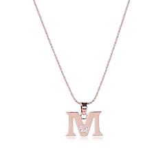 preiswerte Halsketten-Herrn / Damen Alphabet Form Kubikzirkonia Roségold / Zirkon Anhängerketten - Sexy / Britisch / Multi-Wege Wear Gold Modische Halsketten