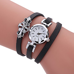 cheap Bracelet Watches-Women's Quartz Bracelet Watch Hot Sale PU Band Charm Luxury Creative Casual Unique Creative Watch Elegant Fashion Cool Black White Grey