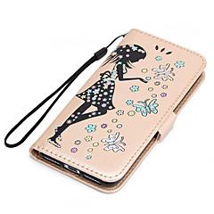 Недорогие Кейсы для iPhone 7 Plus-Кейс для Назначение Apple iPhone 7 Plus iPhone 7 Бумажник для карт Кошелек со стендом Флип Рельефный Чехол Бабочка Соблазнительная