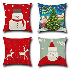 4 개 면/린넨 베게커버 베개 커버,노벨티 패션 크리스마스 레트로 전통적/ 클래식 유롭 크리스마스