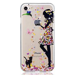 Недорогие Кейсы для iPhone 7 Plus-Кейс для Назначение Apple iPhone 7 Plus iPhone 7 С узором Кейс на заднюю панель Кот Соблазнительная девушка Мягкий ТПУ для iPhone 7 Plus