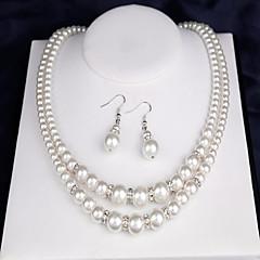 Dames Bruidssieradensets Imitatie Parel Dubbele laag Kostuum juwelen Parel Ronde vorm 1 Ketting 1 Paar Oorbellen 1 Armband Voor Bruiloft