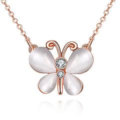 Γυναικεία Κρεμαστά Κολιέ απομιμήσεις Opal Cubic Zirconia Bowknot Shape Με Επίστρωση Ροζ Χρυσού ΟπάλιοΒασικό Μοναδικό Κρεμαστό Γεωμετρικό