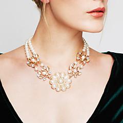 Dames Vermogen Ketting Verklaring Kettingen Parel Bloemvorm Parel Opvallende sieraden Kostuum juwelen Vintage Modieus Sieraden Voor