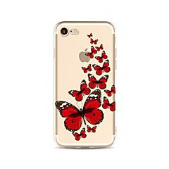 Недорогие Кейсы для iPhone 7-Кейс для Назначение Apple iPhone X iPhone 8 Plus Прозрачный С узором Кейс на заднюю панель Бабочка Мягкий ТПУ для iPhone X iPhone 8 Pluss