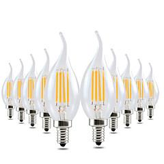 preiswerte LED-Birnen-YWXLIGHT® 10 Stück 4W 300-400lm E12 LED Kerzen-Glühbirnen CA35 4 LED-Perlen COB Abblendbar Dekorativ Warmes Weiß 110-130V