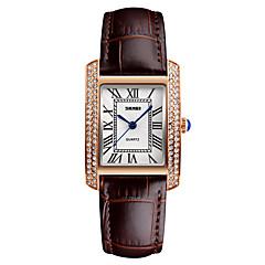 preiswerte Damenuhren-Damen Quartz Armbanduhr Japanisch Wasserdicht Leder Band Kleideruhr Modisch Cool Schwarz Weiß Rot Braun