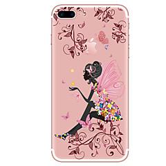 Недорогие Кейсы для iPhone X-Кейс для Назначение Apple iPhone X iPhone 8 iPhone 8 Plus Прозрачный С узором Кейс на заднюю панель Бабочка Соблазнительная девушка Цветы