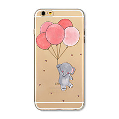 billige Etuier til iPhone 6s-Etui Til Apple iPhone X iPhone 8 Plus Transparent Mønster Bagcover Elefant Ballon Tegneserie Blødt TPU for iPhone X iPhone 8 Plus iPhone