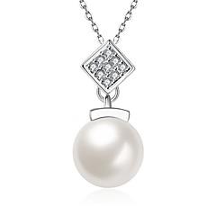 Жен. Ожерелья с подвесками Кристалл Цирконий Овальной формы Геометрической формыХрусталь Искусственный жемчуг Циркон Цирконий Серебрянное