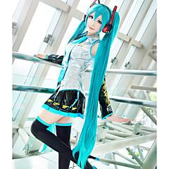 Peruki Cosplay Vocaloid Hatsune Miku Modrá Bardzo długa / Prosta Anime / Gry Video Peruki Cosplay 120 CM Włókno termoodporne Damskie