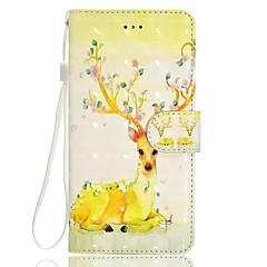 Недорогие Чехлы и кейсы для Huawei серии Y-Кейс для Назначение Huawei P9 Lite Huawei Huawei P8 Lite Бумажник для карт Кошелек со стендом Флип Магнитный С узором Чехол Цветы Животное