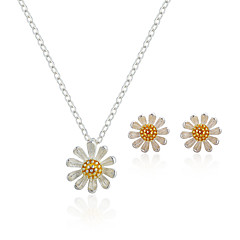 Жен. Серьги-гвоздики Ожерелья с подвесками Мода Симпатичные Стиль Простой стиль Стерлинговое серебро В форме цветка Назначение