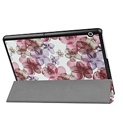 お買い得  タブレット用ケース-ケース 用途 Huawei MediaPad MediaPad T3 10(AGS-W09, AGS-L09, AGS-L03) スタンド付き フラワー ハード PUレザー のために Huawei MediaPad T3 10(AGS-W09, AGS-L09,